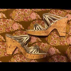 Dior Lacquered Wood Platform Heel Size 42